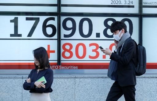 Chỉ số Nikkei 225 của Nhật Bản tăng 1,77% trong phiên giao dịch sáng nay 27/4 còn chỉ số Topix nhích 0,85%. Ảnh: AFP