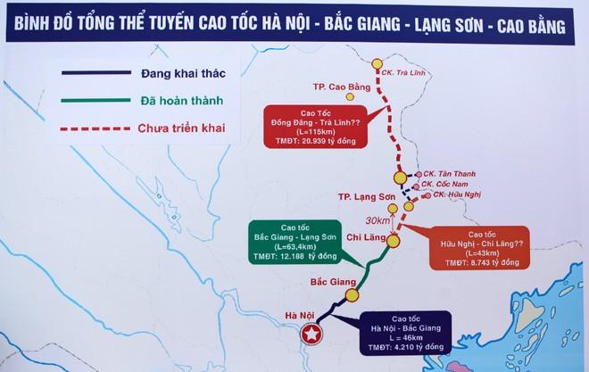 Đường cao tốc Bắc Giang - Lạng Sơn trong mối liên kết với các đường cao tốc Đồng Đăng - Trà Lĩnh (Cao Bằng) trong tương lai.