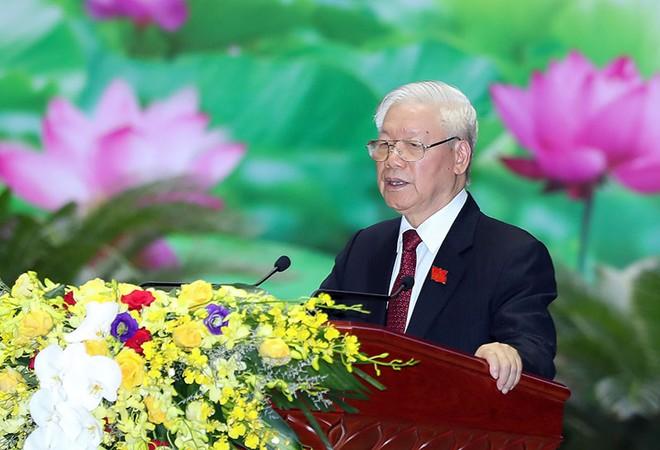 Tổng Bí thư, Chủ tịch nước Nguyễn Phú Trọng, Bí thư Quân ủy Trung ương phát biểu chỉ đạo Đại hội (Ảnh: Cổng TTĐT Bộ Quốc phòng)