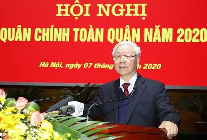 Tổng Bí thư, Chủ tịch nước Nguyễn Phú Trọng phát biểu tại Hội nghị Quân chính toàn quân năm 2020 -( Ảnh Bộ Quốc phòng)