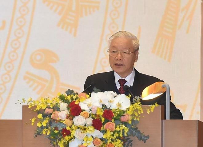 Tổng Bí thư, Chủ tịch nước Nguyễn Phú Trọng phát biểu tại Hội nghị sáng 28/12 (Ảnh: VGP)