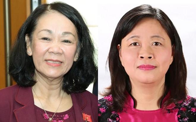 Tân Trưởng ban Tổ chức Trung ương (trái) và tân Trường ban Dân vận Trung ương Bùi Thị Minh Hoài.