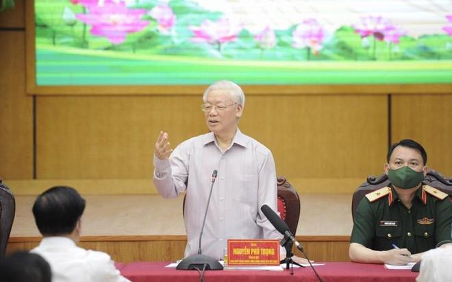 Tống Bí thư Nguyễn Phú Trọng phát biểu tại cuộc tiếp xúc (Ảnh Duy Linh).