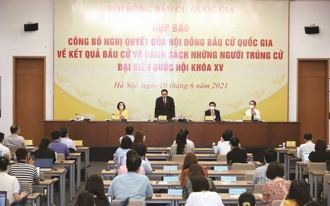 Hội đồng Bầu cử quốc gia tổ chức họp báo công bố kết quả bầu cử và danh sách những người trúng cử ĐBQH khóa XV.