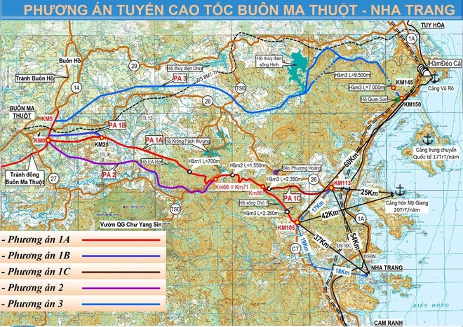 Dự kiến phương án tuyến cao tốc Khánh Hòa - Buôn Ma Thuột.