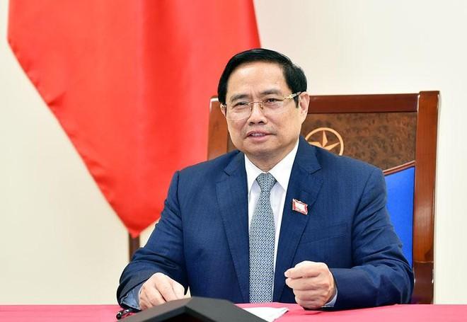 Thủ tướng Phạm Minh Chính điện đàm với Thủ tướng Hàn Quốc Kim Boo Kyum (Ảnh: BNG)