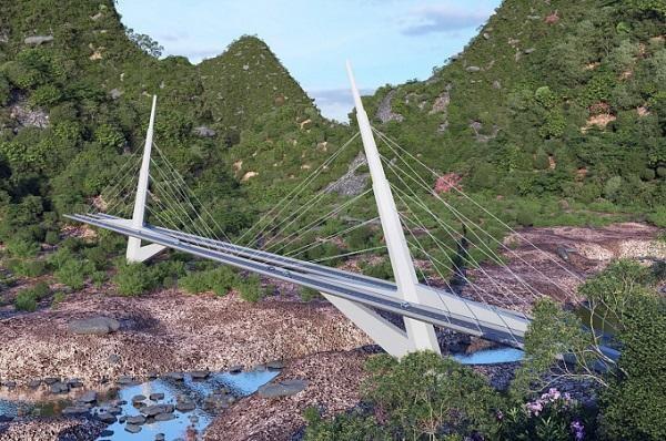 Một phương án kiến trúc cầu Sao La trên tuyến cao tốc Đồng Đăng - Trà Lĩnh.