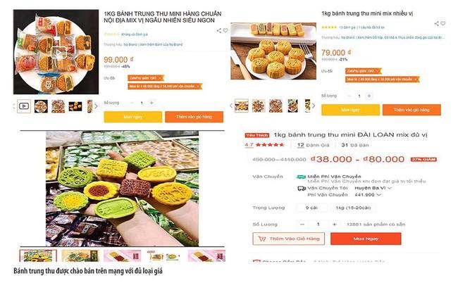 Bánh trung thu được chào bán trên mạng với đủ loại giá