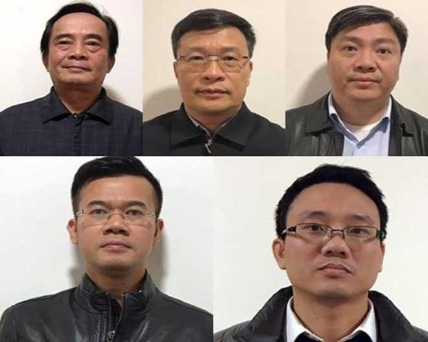 Các bị can Đoàn Ánh Sáng, Ngô Duy Chính, Nguyễn Xuân Giáp, Phạm Hồng Quang, Đặng Thanh Nam