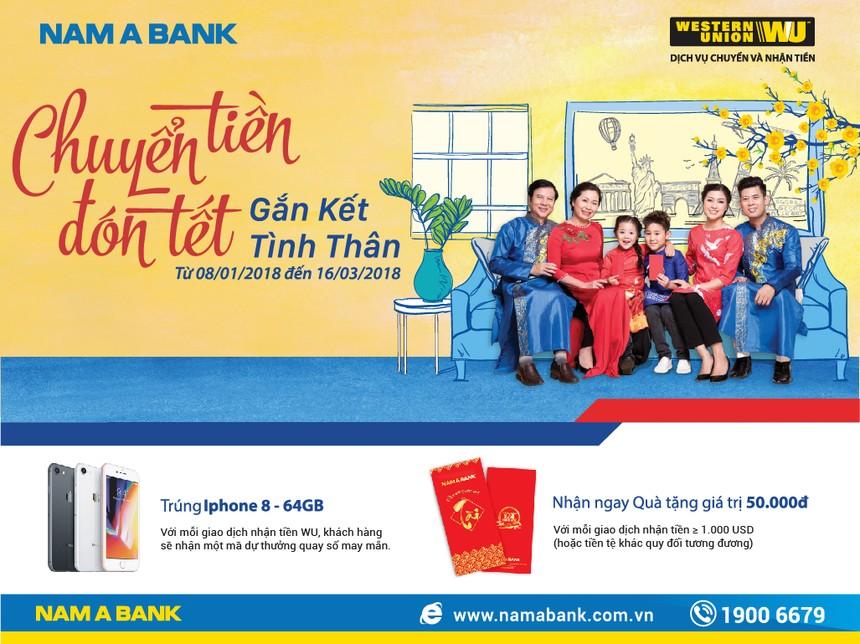 Nhận kiều hối tại Nam A Bank có cơ hội trúng IPhone 8