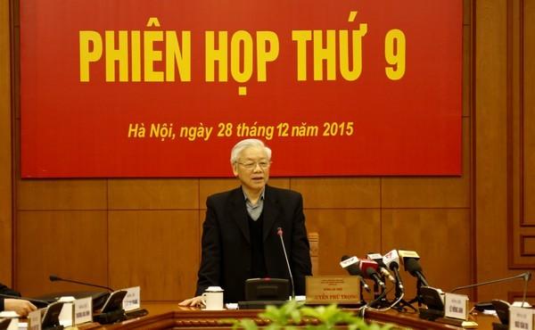 Tổng Bí thư Nguyễn Phú Trọng phát biểu tại phiên họp thứ 9 Ban Chỉ đạo Trung ương về phòng, chống tham nhũng