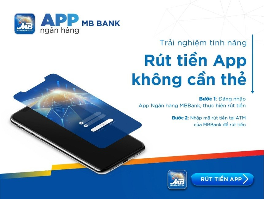 Rút tiền không cần thẻ với App của MBBank