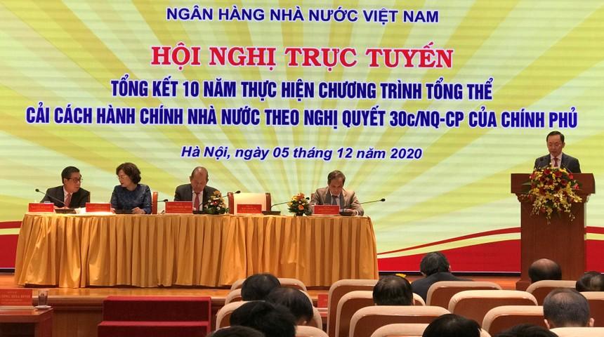 Ông Đào Minh Tú, Phó Thống đốc thường trực Ngân hàng Nhà nước phát biểu tại Hội nghị.