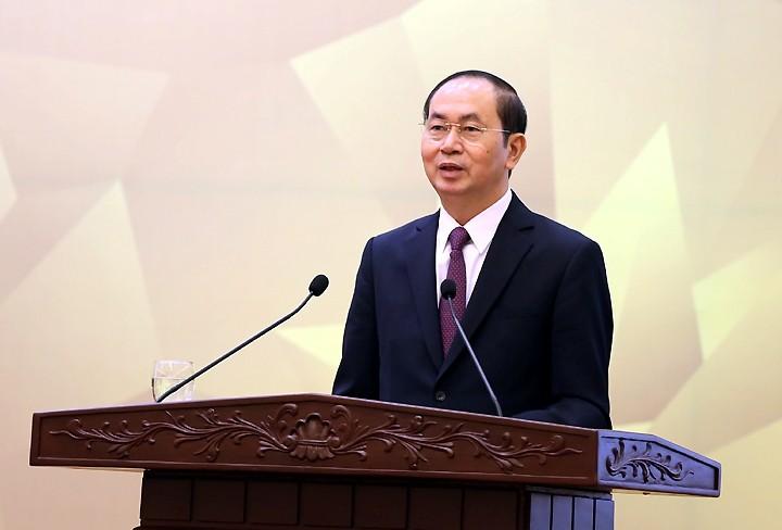 Chủ tịch nước Trần Đại Quang phát biểu tại Lễ tổng kết - Ảnh: VGP
