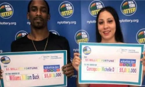 William Williams, 24 tuổi và Michelle Concepcion, 25 tuổi ở New York, kể rằng họ đã mua chiếc vé số giá 20 USD để đổi tờ 100 USD và trúng ngay 5 triệu USD.