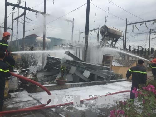 Cháy trạm biến áp 110KV Võ Cường, thành phố Bắc Ninh mất điện diện rộng