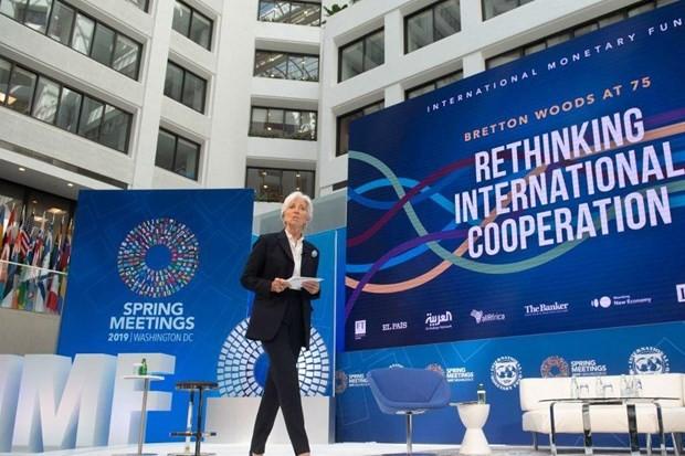 Bức ảnh này được chụp vào ngày 10/4/2019 khi Tổng Giám đốc IMF Christine Lagarde đang phát biểu tại Hội nghị mùa Xuân IMF và WB 2019. (Nguồn: AFP).