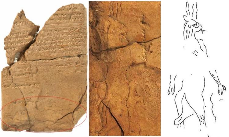 Tấm đất sét chứa chữ hình nêm và hình vẽ ác quỷ. Ảnh: Ancient Origins.