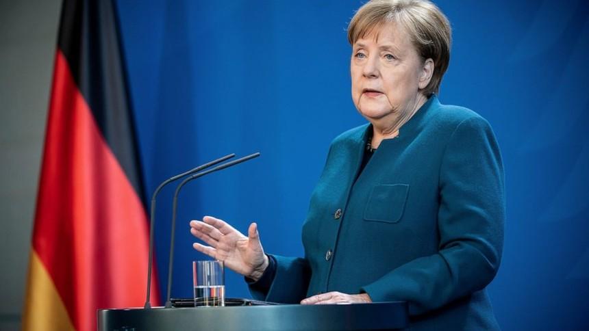 Thủ tướng Đức Angela Merkel phát biểu tại buổi họp báo ngày 22/3. Ảnh AP