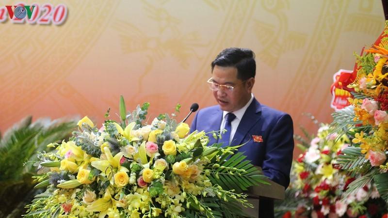 Ông Nguyễn Trung Triều - Bí thư Huyện ủy Bát Xát phát biểu tại Đại hội.