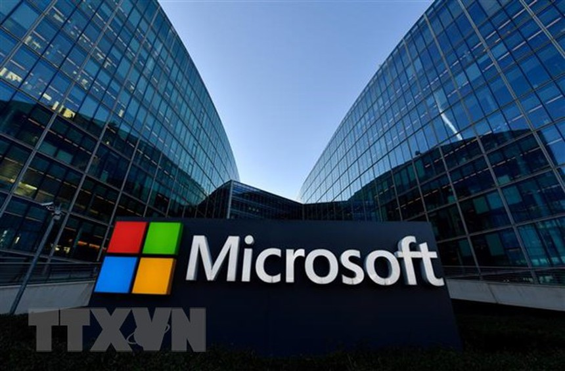 Biểu tượng Microsoft tại ngoại ô Paris, Pháp. (Nguồn: AFP/TTXVN).