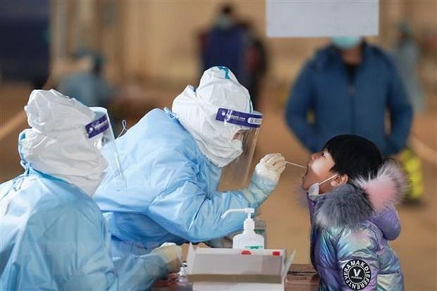 Nhân viên y tế lấy mẫu xét nghiệm COVID-19 tại quận Đại Hưng, Bắc Kinh, Trung Quốc, ngày 20/1/2021. (Ảnh: THX/TTXVN).
