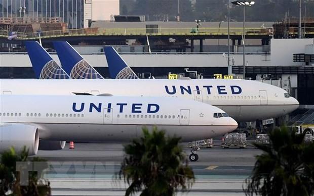 Máy bay của Hãng hàng không United Airlines tại sân bay quốc tế Los Angeles, California, Mỹ. (Ảnh: AFP/TTXVN).