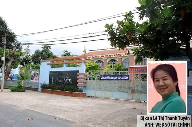 Bị can Lê Thị Thanh Tuyền và dự án cải tạo tại Trường tiểu học Tân Phú Trung. (Nguồn: thanhnien.vn).