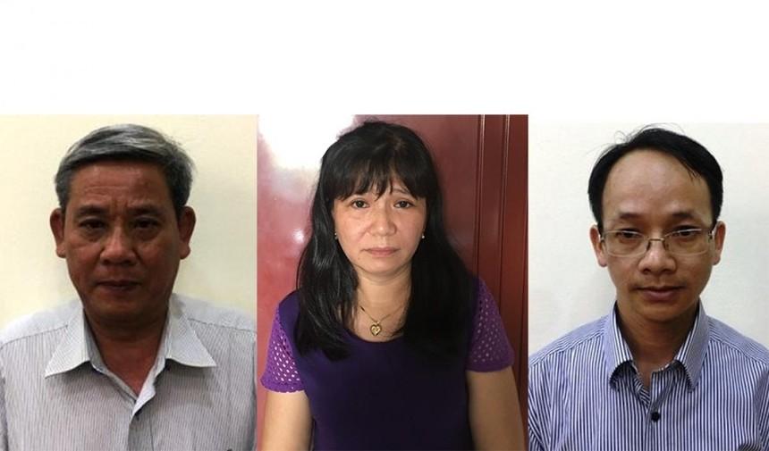 Các bị can (từ trái qua phải) Lê Văn Thanh, Nguyễn Thị Thanh An, Nguyễn Thanh Chương. Ảnh: Bộ Công an.