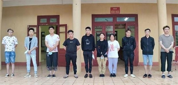 10 công dân Trung Quốc nhập cảnh trái phép bị bắt giữ. (Nguồn: TTXVN phát).