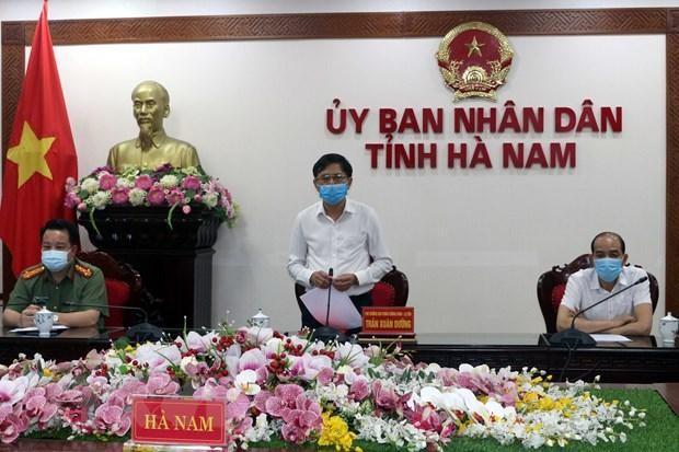 Phó Chủ tịch UBND tỉnh Hà Nam Trần Xuân Dưỡng phát biểu chỉ đạo tại hội nghị. (Ảnh: Nguyễn Chinh/TTXVN).