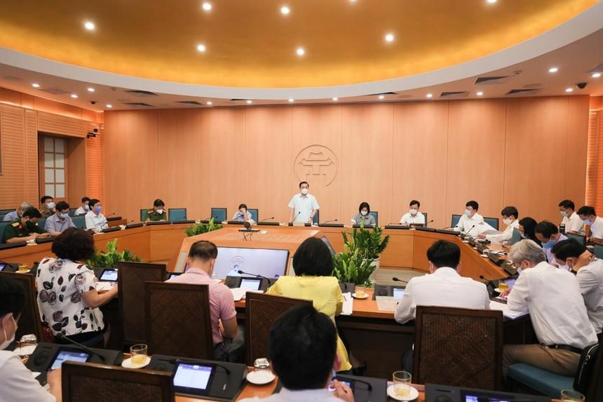 Phiên họp trực tuyến BCĐ phòng chống dịch Covid-19 thành phố Hà Nội chiều 4/5.