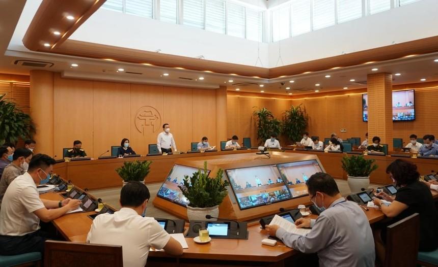 Một phiên họp của Ban Chỉ đạo phòng chống dịch Covid-19 thành phố Hà Nội.