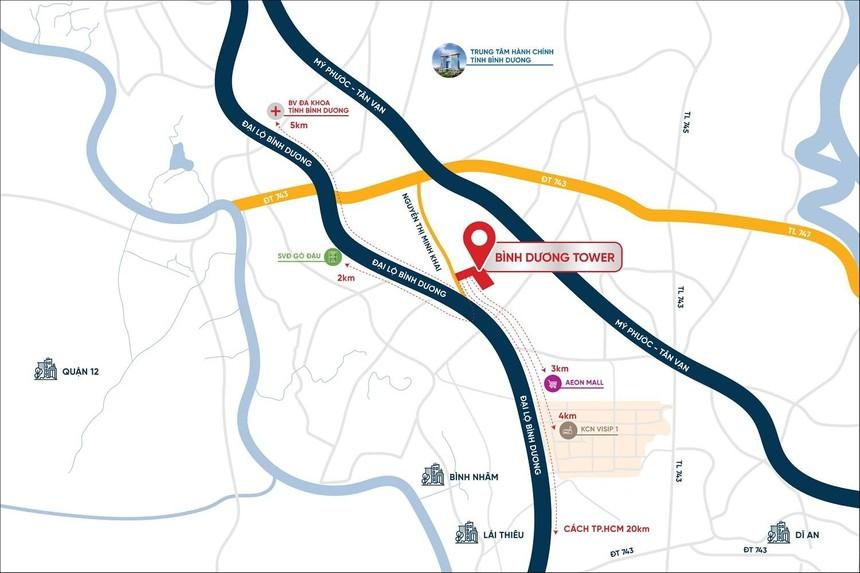 Bản đồ vị trí dự án Bình Dương Tower.
