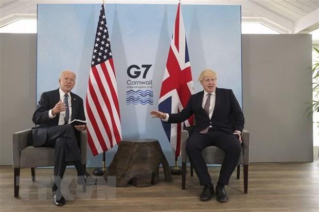 Thủ tướng Anh Boris Johnson (phải) và Tổng thống Mỹ Joe Biden trong cuộc gặp song phương tại Vịnh Carbis, Cornwall (Anh) ngày 10/6/2021. (Ảnh: AFP/TTXVN).