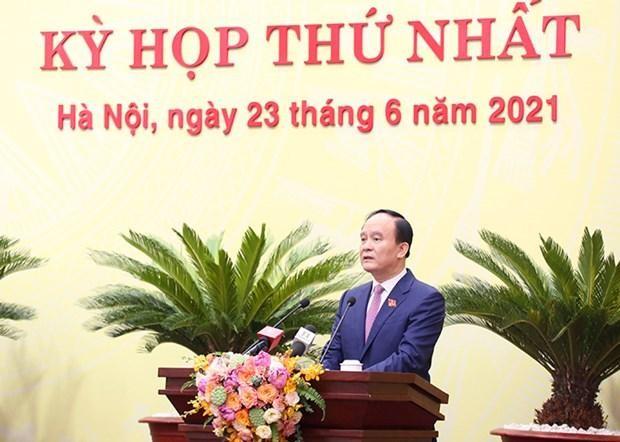 Ông Nguyễn Ngọc Tuấn, Chủ tịch Hội đồng Nhân dân thành phố Hà Nội khóa XV phát biểu tại phiên khai mạc Kỳ họp HĐND thành phố. (Ảnh: PV/Vietnam+).