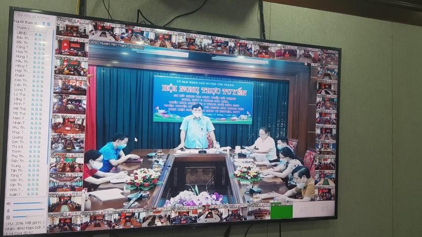 Hội nghị trực tuyến tuyên truyền, đối thoại chính sách BHXH, BHYT của huyện Yên Thành với người dân (nguồn: BHXH huyện Yên Thành).