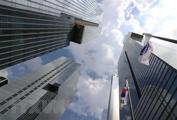 Trụ sở Công ty Samsung Electronics tại Seoul, Hàn Quốc, ngày 10/8/2021. (Ảnh: Yonhap/TTXVN).