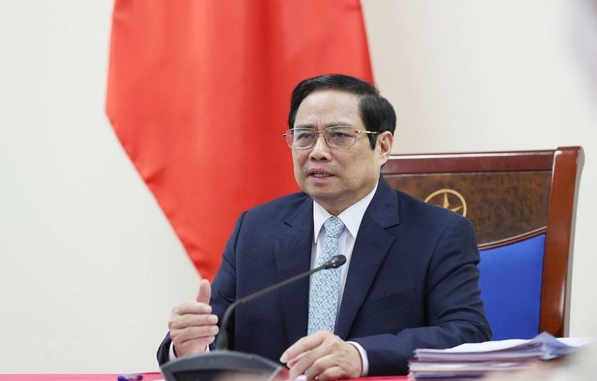 Thủ tướng Phạm Minh Chính phát biểu tại buổi điện đàm với bà Aurélia Nguyen, Giám đốc điều hành Chương trình COVAX. (Ảnh: Dương Giang/TTXVN).