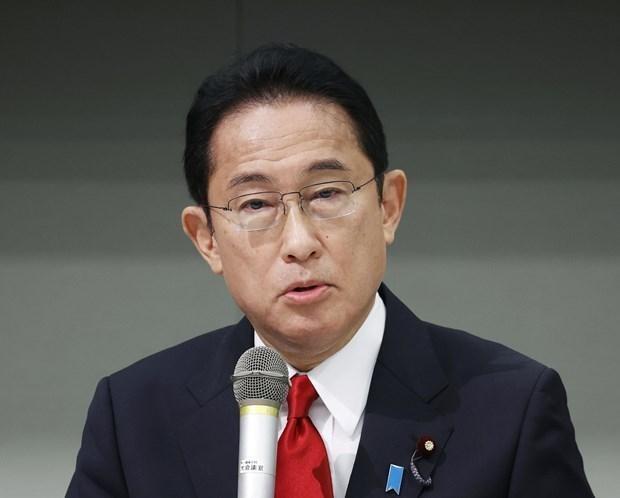 Ông Fumio Kishida trong phiên thảo luận trực tuyến tại trụ sở của đảng ở Tokyo, ngày 22/9/2021. (Ảnh: Kyodo/TTXVN).