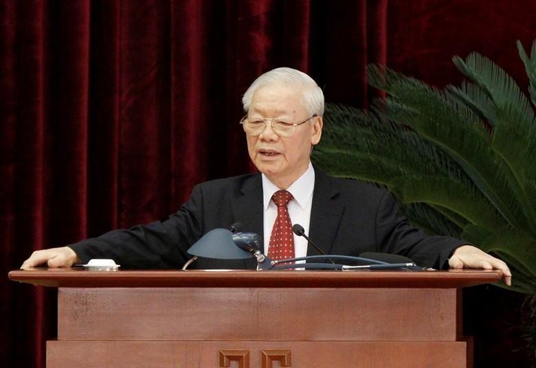 Tổng Bí thư Nguyễn Phú Trọng phát biểu bế mạc Hội nghị Trung ương 4 (khóa XIII) ngày 7/10/2021.