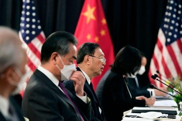 Ông Dương Khiết Trì (giữa) trong cuộc gặp với quan chức Mỹ tại Thụy Sĩ. (Nguồn: AFP).