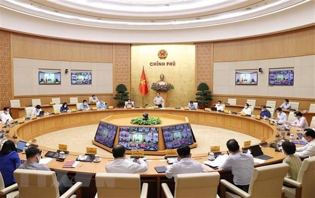 Một cuộc họp trực tuyến toàn quốc giữa Ban Chỉ đạo với các địa phương trên cả nước về công tác phòng, chống dịch COVID-19. (Ảnh: Dương Giang/TTXVN).
