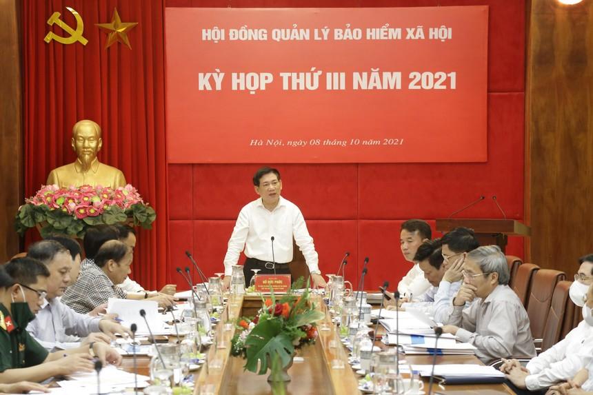 Đồng chí Hồ Đức Phớc, Ủy viên Trung ương Đảng, Bộ trưởng Bộ Tài chính Chủ tịch Hội đồng quản lý BHXH Việt Nam chủ trì kỳ họp.