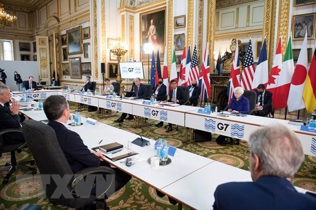 Toàn cảnh Hội nghị Bộ trưởng Tài chính G7 tại London, Anh, ngày 4/6/2021. (Ảnh: AFP/TTXVN).