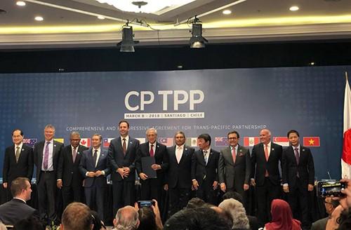 Đại diện 11 nước thành viên ký CPTPP tại Chile vào tháng 3/2018.Ảnh: Reuters
