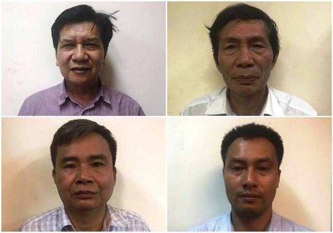 Các bị can (từ trái qua phải) Trần Ngọc Hà, Lâm Chí Quang, Vũ Từ Công, Nguyễn Mạnh Chung. Ảnh: Bộ Công an.