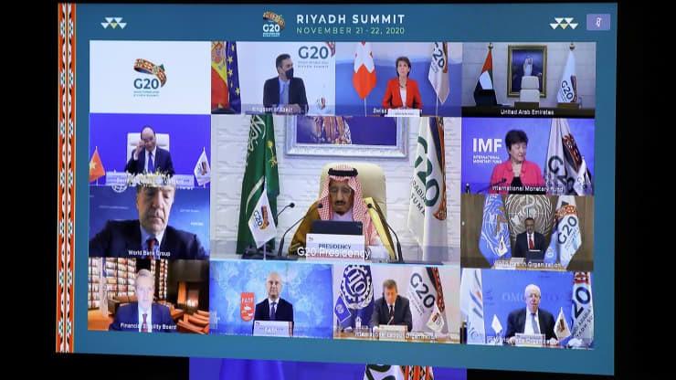 Hội nghị thượng đỉnh G20 trực tuyến do Ả Rập Xê Út chủ trì ở Brussels vào ngày 21/11/2020. Nguồn: AFP