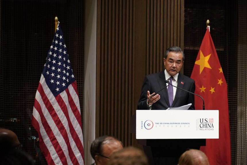 Ngoại trưởng Trung Quốc Vương Nghị tại phiên họp thứ 74 của Đại Hội đồng Liên Hiệp Quốc. Ảnh: China Daily.