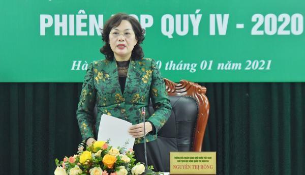 Thống đốc NHNN Việt Nam kiêm Chủ tịch HĐQT NHCSXH Nguyễn Thị Hồng phát biểu tại phiên họp.